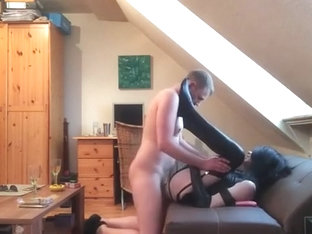 latex sissy gives her bum to Daddy and sucks him off