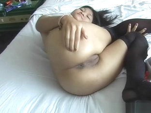 Adorable Asian sweet heart jerking the crooked dick in pov