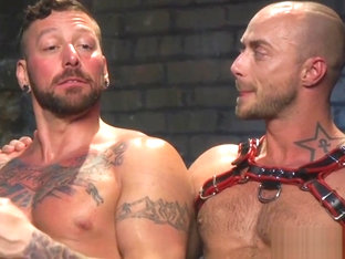 Muscled sub stud gets anally doggystyled