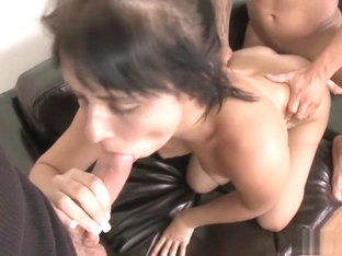 Mandy Sky gets spit roasted in a threesome and fucked from behind