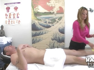 A physical therapist gives a killer handjob