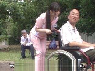 Subtitled bizarre Japanese half naked caregiver outdoors