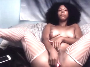 Curly black woman Mars May who loves to play with herself