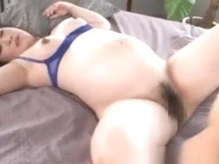 Pregnant Japanese Milf Hairy Clit Nailed