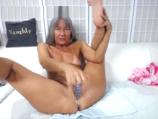 Naughty granny Leilani with dirty talk fucks creamy cunt
