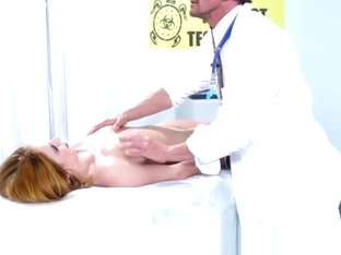 Redhead with big natural tits massaged and fucked
