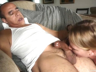 Super sexy chubby honey loves sucking cock eating cum