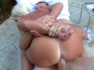 Diana Doll rides on Jordan Ash in backyard