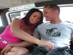Busty pornstar Eva Angelina fuck and suck on the bus