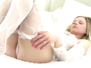 Some White Lace Lingerie, Lying In Bed After A Bath, She