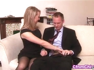 Blonde brit domina tugs cock