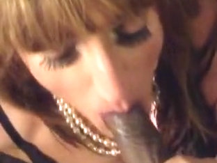 Tonya collared and leashed sucks black cock