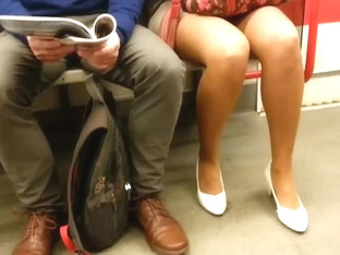 Candid sexy legs in subway 192