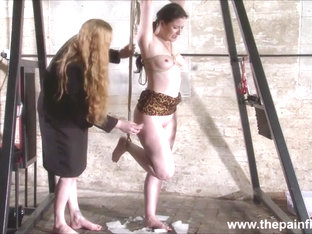Lesbian slave Caroline Pierce tied on ice and whipped by lezdom mistress Xinran