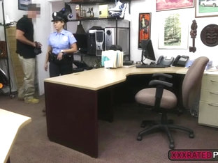 Busty police officer fucked in the pawnshop
