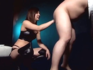 Japanese femdom, tall queen giantess amazon boots and army anal strap on