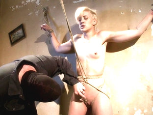 Tall Hot Blonde On Tip-Toes Hanging From A Crotch Rope, Made To Squirt. - HogTied