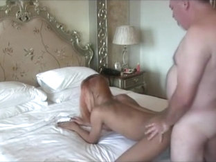 Redhead ladyboy pounding with a older man
