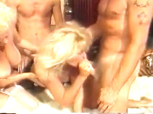 Old school foursome gets wild on a plush white rug