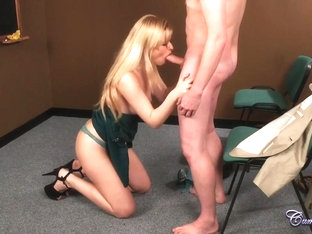 This slutty blonde is on her knees to suck