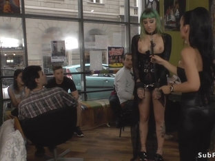 Green haired slave disgraced in public