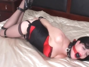 Mary Jane Green in Pink Lingerie Bondage