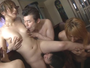 Japanese housewife, Aiko Nagai is having her first orgy, unc