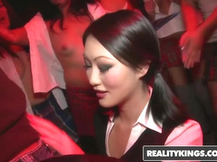 Asian daughter joins in after seeing mom fucking boyfriend