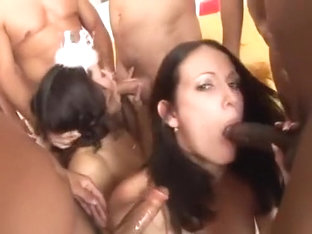 Layla Rivera & Hailey Young big orgy celebrations. Ending is very messy.
