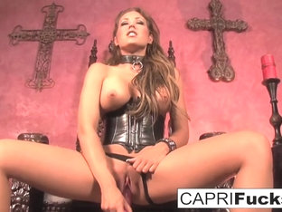 Capri Cavanni in Leather Boots, Gothic Chairs And A Big Pink Dildo - CapriCavanni