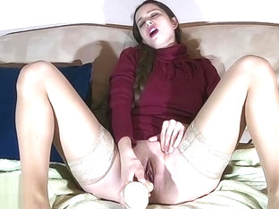 Amateur girl masturbates 8 inch adult toy and orgasm squirt on camera