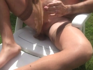 Nylon Masturbation Outdoor