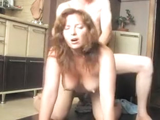 Busty and hot ass brunette gets nailed doggy style on floor