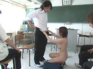 Japanese milf Saki Okuda naughty teacher strips naked in class