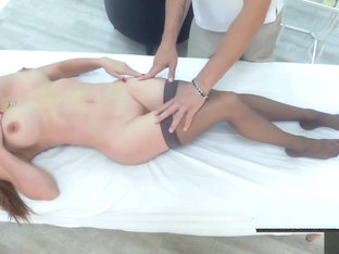 MILF Diamond Foxxx gets oiled up and toys her ass before having anal sex.